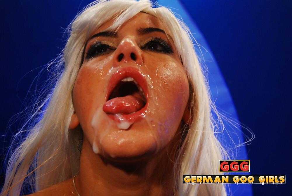 John Thompson Bukkake blonde from Germany with lots of cum in her face